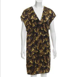 Green Lanvin Silk  V-neck dress  large -46